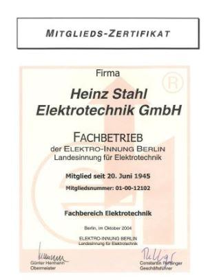 Stahl Elektro Zertifikat Elektroinnung